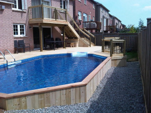 Pool with vertical wood exterior