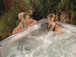 Two Women chatting in hot tub